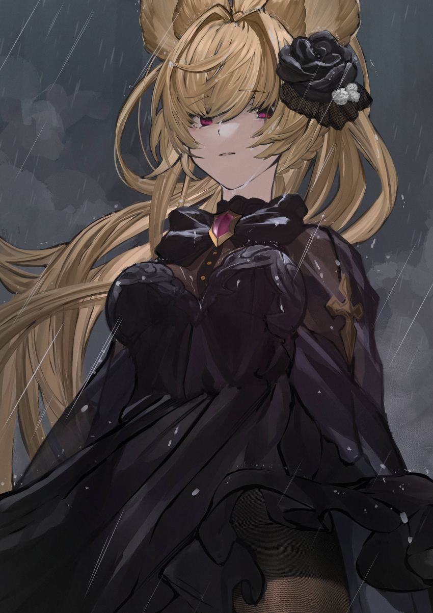1girl absurdres bangs betabeet black_dress black_flower blonde_hair bow bowtie brooch dress eyebrows_visible_through_hair flower granblue_fantasy hair_flower hair_intakes hair_ornament highres jewelry long_hair looking_back looking_down parted_lips rain red_eyes solo yuisis_(granblue_fantasy)