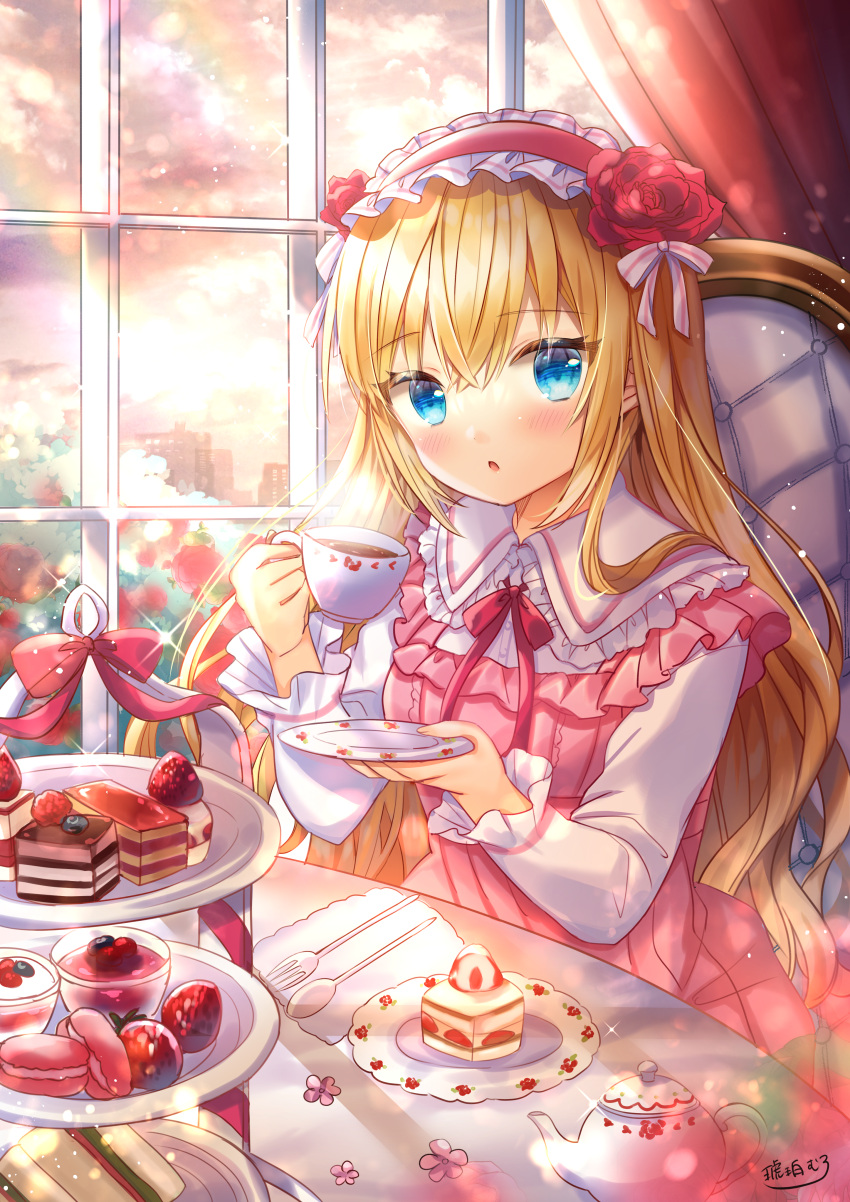 1girl absurdres blurry blurry_foreground bow chair collared_shirt commentary_request cup depth_of_field dress flower food fork frilled_hairband frilled_shirt_collar frills fruit hair_flower hair_ornament hairband highres holding holding_cup holding_saucer huge_filesize indoors kohaku_muro long_sleeves macaron on_chair original pink_dress red_bow red_flower red_hairband red_rose rose sandwich saucer shirt signature sleeveless sleeveless_dress solo spoon strawberry tea_party teacup teapot tiered_tray white_shirt window