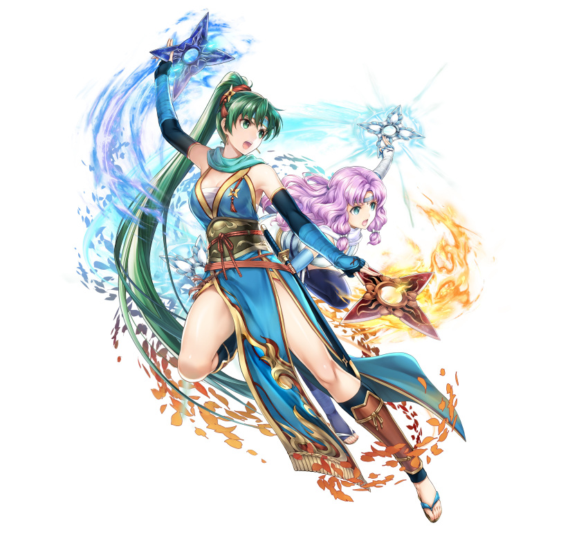 2girls absurdres bangs bare_shoulders breasts circlet commentary_request dual_wielding earrings elbow_gloves fingerless_gloves fire_emblem fire_emblem:_the_blazing_blade fire_emblem_heroes florina_(fire_emblem) full_body gloves green_eyes green_hair hair_ornament highres holding japanese_clothes jewelry leg_up long_hair looking_away lyn_(fire_emblem) medium_breasts multiple_girls ninja official_art open_mouth pelvic_curtain ponytail purple_hair sandals sheath sheathed shiny shiny_skin shuriken shuriken_hair_ornament simple_background sleeveless sword thighs tied_hair toes very_long_hair weapon white_background yamada_koutarou