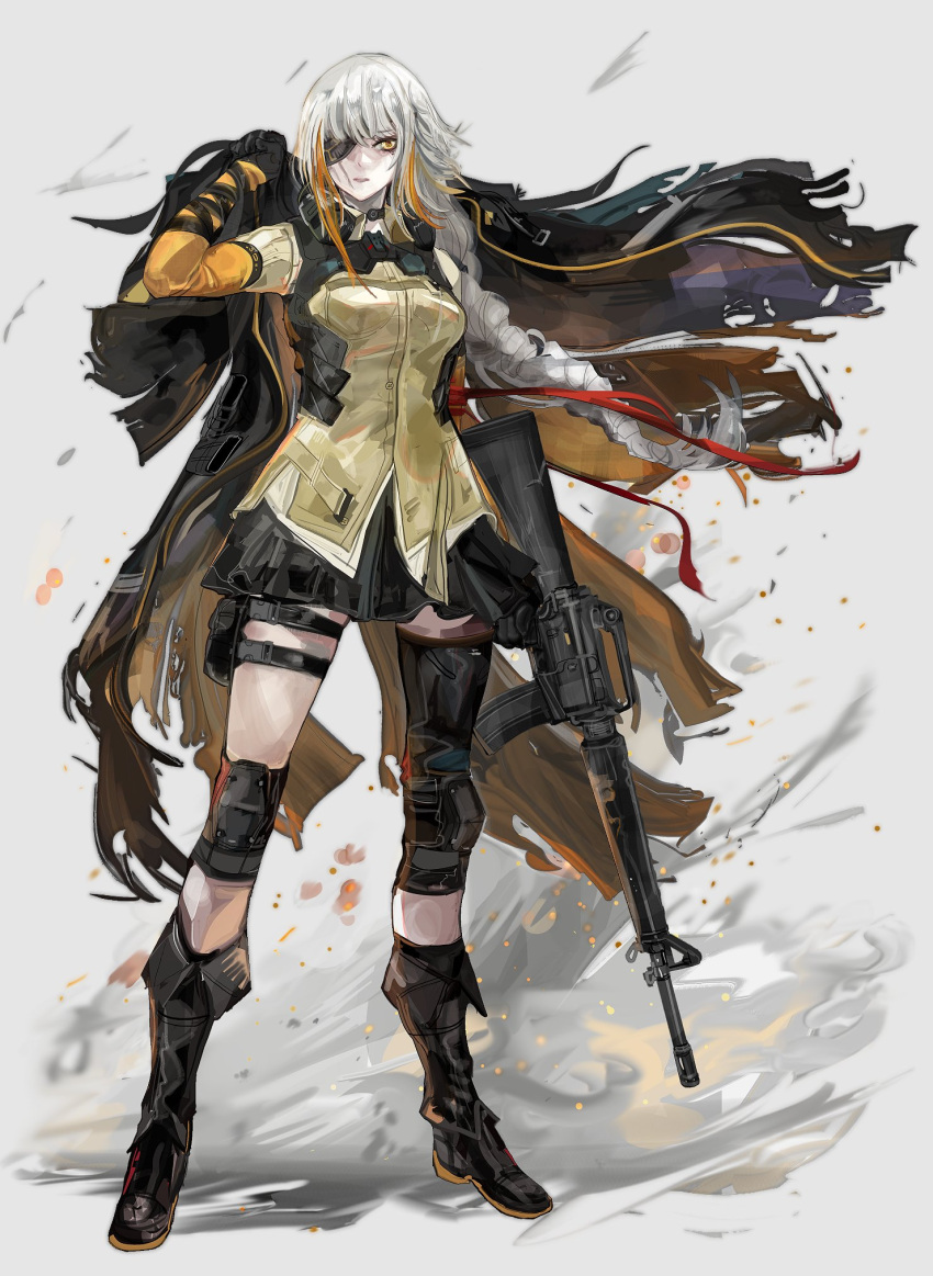 1girl assault_rifle bangs boots braid collared_shirt eyepatch full_body girls_frontline gloves gun highres holding holding_gun holding_weapon knee_pads long_hair long_sleeves looking_at_viewer m16a1 m16a1_(girls_frontline) m16a1_(girls_frontline)_(boss) multicolored_hair nslacka pleated_skirt rifle scar scar_on_face shirt single_braid skirt solo streaked_hair thigh_pouch weapon white_hair yellow_eyes