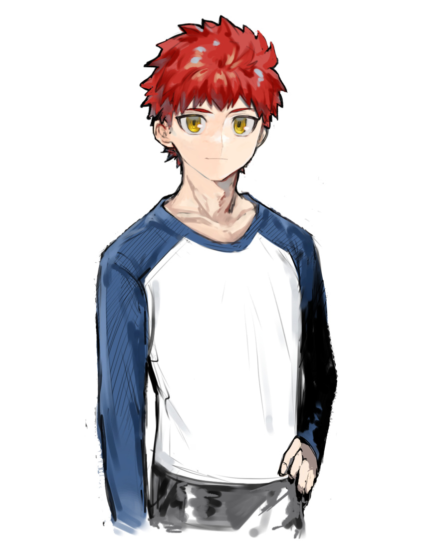 1boy arm_at_side bangs blue_shirt closed_mouth collarbone cowboy_shot emiya_shirou fate/stay_night fate_(series) grey_pants hand_on_hip highres long_sleeves looking_at_viewer male_focus orange_eyes pants raglan_sleeves redhead shiny shiny_hair shirt short_hair simple_background smile solo suzumetarou white_background white_shirt