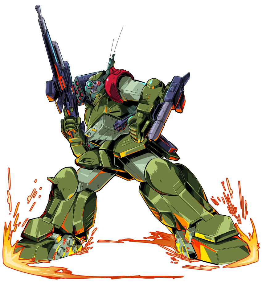 arm_cannon clenched_hand extra_eyes gun head_tilt highres holding holding_gun holding_weapon looking_at_viewer mecha missile_pod no_humans pillar_buster radio_antenna science_fiction scopedog skating solo soukou_kihei_votoms weapon white_background