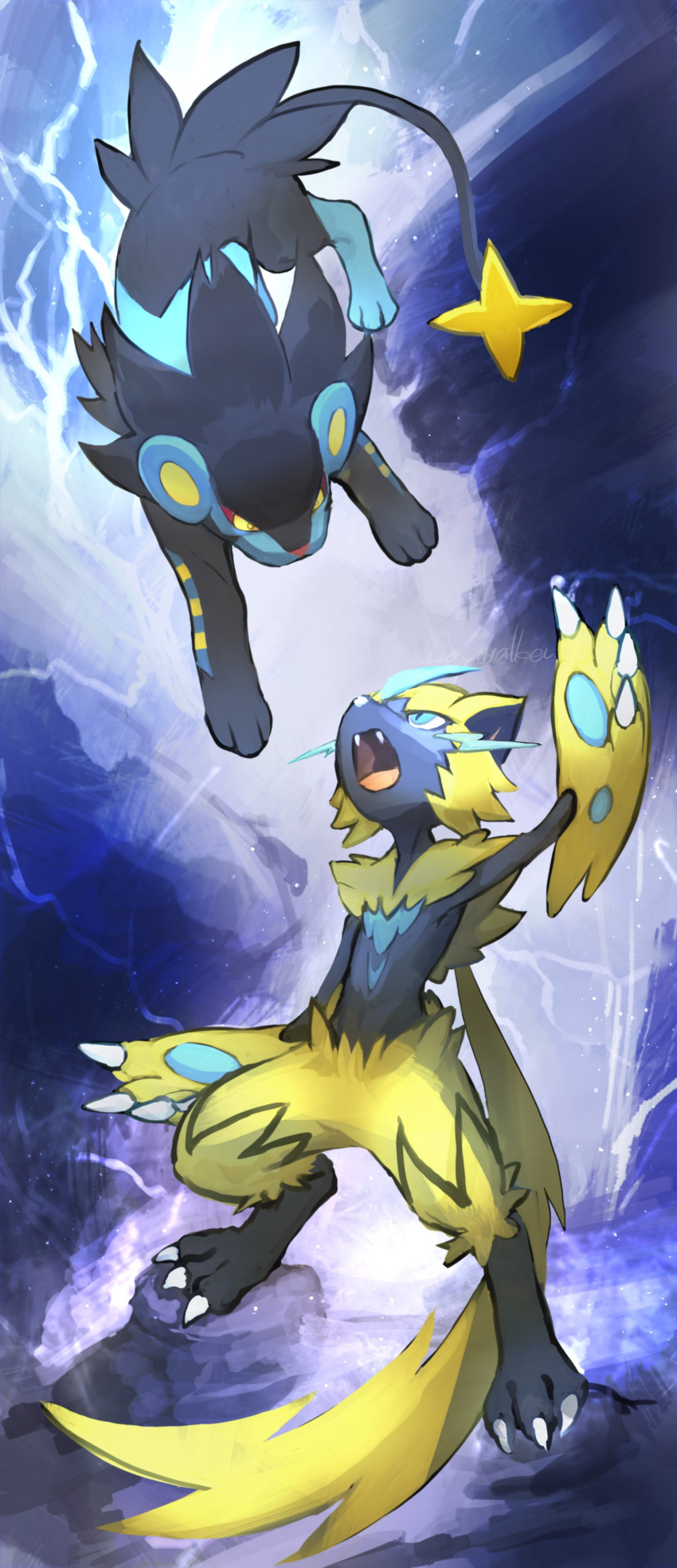 1boy absurdres animal_ears arm_up artist_name blue_eyes cat_boy cat_ears cat_tail claws colored_sclera commentary day_walker1117 electricity english_text eye_contact fangs fighting full_body furry gen_4_pokemon gen_7_pokemon highres jumping legendary_pokemon looking_at_another luxray male_focus mythical_pokemon open_mouth paws pokemon pokemon_(creature) red_sclera signature standing tail whiskers yellow_eyes zeraora