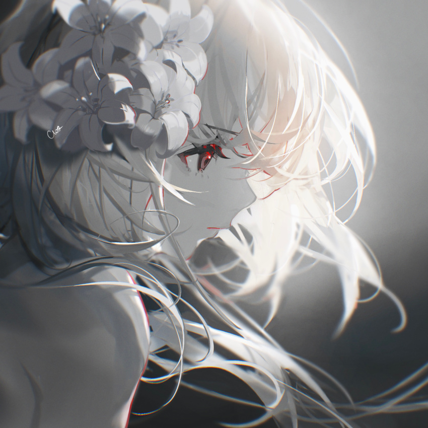 1girl bare_shoulders chi4 eyebrows_visible_through_hair flower hair_flower hair_ornament highres long_hair original red_eyes solo spot_color tagme white_flower