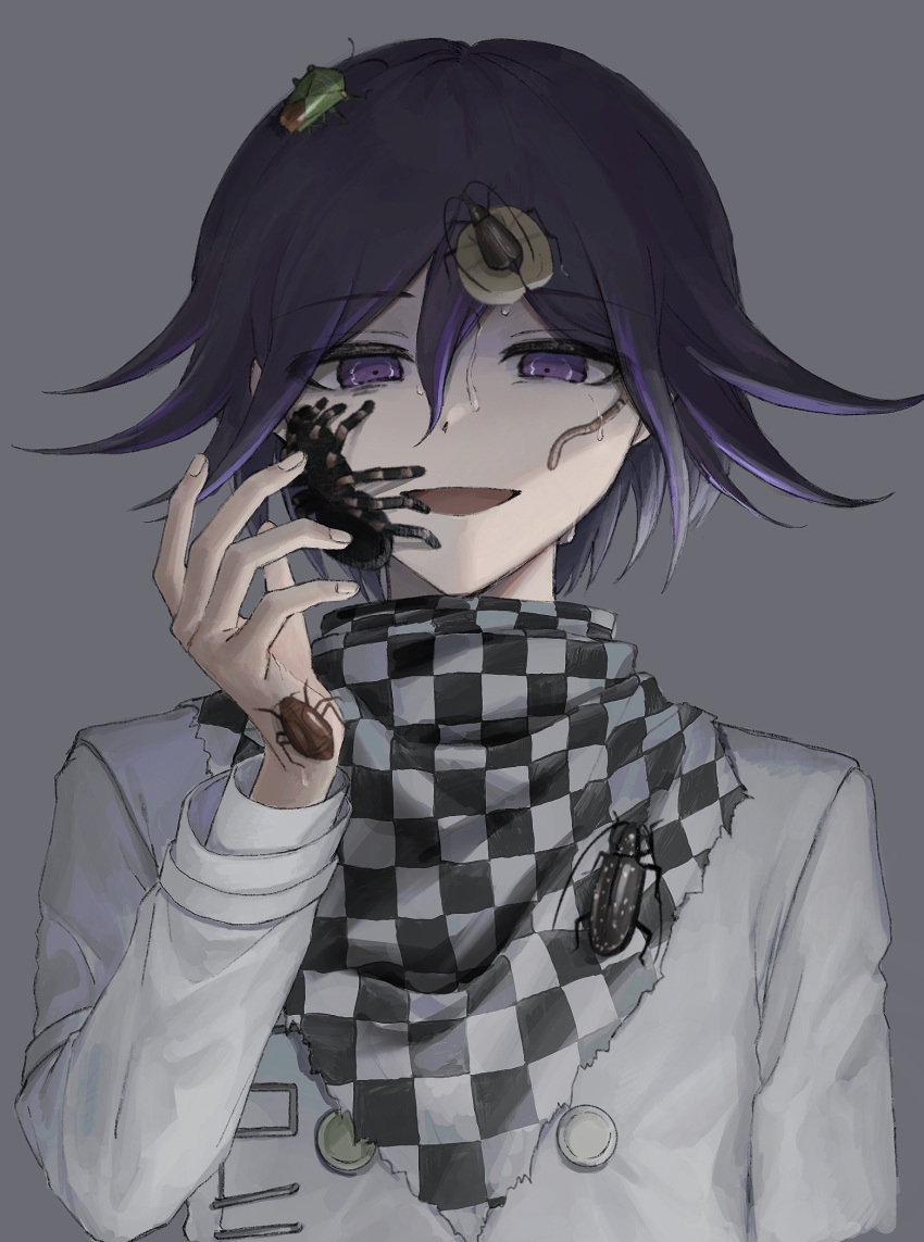 1boy :d aji_kosugi bangs black_hair bug checkered checkered_background checkered_scarf commentary_request danganronpa_(series) danganronpa_v3:_killing_harmony eyebrows_visible_through_hair grey_background hair_between_eyes hand_up highres insect long_sleeves looking_at_viewer male_focus open_mouth ouma_kokichi purple_hair scarf short_hair smile solo spider straitjacket sweat upper_body violet_eyes