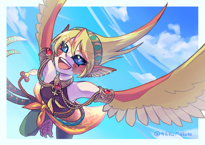 1girl 46kumakoto absurdres animal_ears armlet bangs bare_shoulders belt bird_ears blonde_hair blue_eyes clouds commentary_request eyebrows_visible_through_hair feathered_wings feathers flying gem hairband harpy highres jewelry long_hair monster_girl multicolored_hair open_mouth orange_feathers orange_hair original sky sleeveless solo talons twitter_username two-tone_hair upper_teeth winged_arms wings yellow_feathers