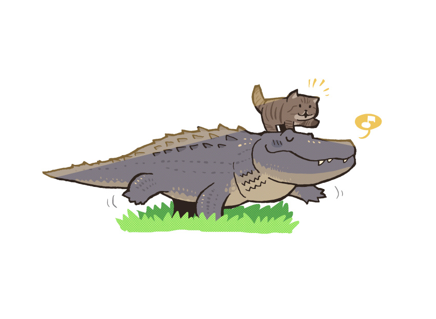 :3 animal animal_focus animal_on_head black_eyes blank_eyes blush blush_stickers cat closed_eyes closed_mouth commentary crocodile crocodilian from_side full_body grass highres motion_lines musical_note no_humans notice_lines on_head open_mouth original photo-referenced rariatto_(ganguri) sharp_teeth simple_background speech_bubble spoken_musical_note symbol_commentary teeth walking white_background
