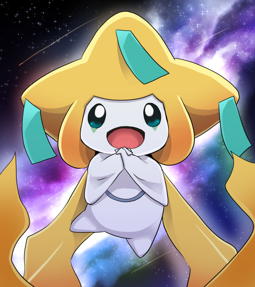 :d comet commentary commentary_request dagashi_(daga2626) gen_3_pokemon green_eyes hands_together highres interlocked_fingers jirachi looking_at_viewer mythical_pokemon nebula no_humans open_mouth pokemon pokemon_(creature) smile solo space star_(sky) tongue