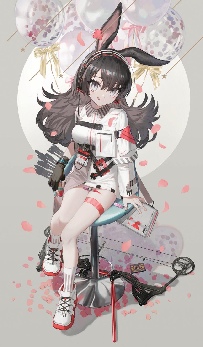 1girl :q absurdres animal_ears april_(arknights) arknights asymmetrical_sleeves balloon bangs bar_stool black_gloves black_hair bow_(weapon) cassette_tape collared_dress compound_bow cosmetics dress fingerless_gloves gloves grey_eyes hairband highres ji_mag_(artist) lipstick_tube long_hair long_sleeves looking_at_viewer mixed-language_commentary petals rabbit_ears rabbit_girl shoes single_fingerless_glove sitting sneakers solo stool thigh_strap tongue tongue_out weapon white_dress white_footwear white_legwear wristband