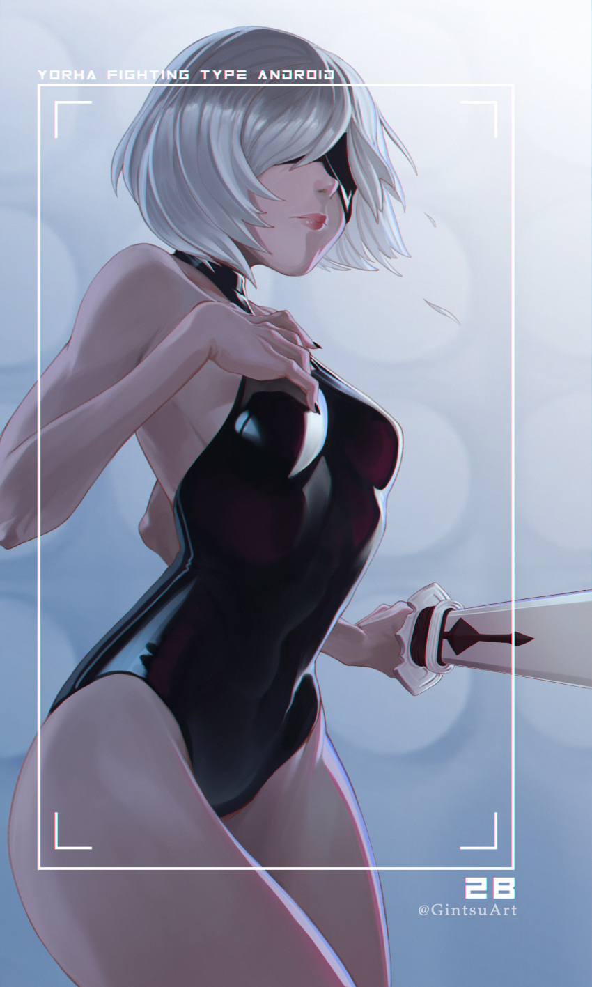 1girl absurdres black_blindfold black_leotard black_nails blindfold breasts character_name covered_eyes english_commentary fingernails gintsu highres holding holding_sword holding_weapon latex latex_leotard leotard lips medium_breasts nier_(series) nier_automata no_mole nose pink_lips sharp_fingernails short_hair silver_hair skin_tight solo sword weapon yorha_no._2_type_b