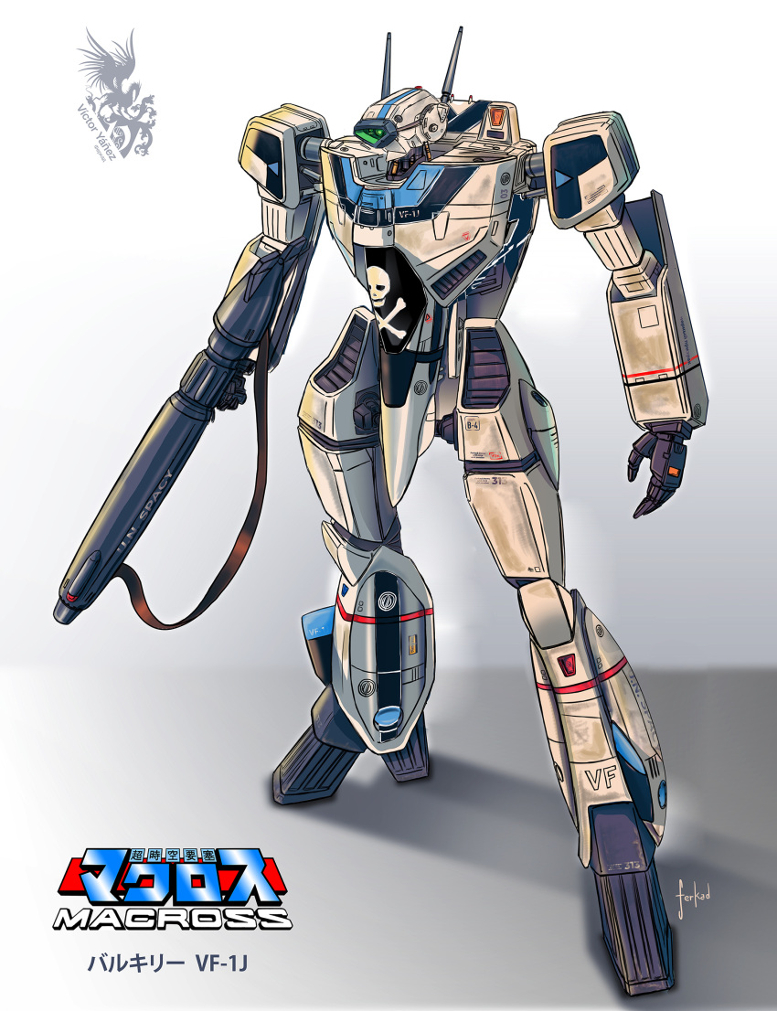 absurdres artist_name character_name choujikuu_yousai_macross ferkad grey_background gun highres holding holding_gun holding_weapon logo looking_ahead macross mecha open_hand science_fiction skull_and_crossbones solo standing variable_fighter vf-1 vf-1j visor weapon