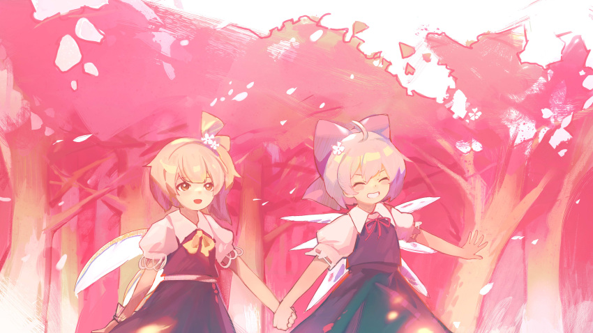 2girls :d absurdres ahoge bangs blue_hair blue_skirt blue_vest bow cherry_blossoms cirno closed_eyes cowboy_shot cravat daisy daiyousei day dress eyebrows_visible_through_hair fairy_wings flat_chest flower green_hair grin hair_bow hair_flower hair_ornament happy highres holding_hands ice ice_wings looking_afar looking_ahead multiple_girls one_side_up open_mouth outdoors pinafore_dress pink_flower pink_theme puffy_short_sleeves puffy_sleeves red_neckwear red_ribbon ribbon short_hair short_sleeves siyumu skirt smile standing touhou tree vest white_flower wings wrist_cuffs yellow_bow yellow_neckwear