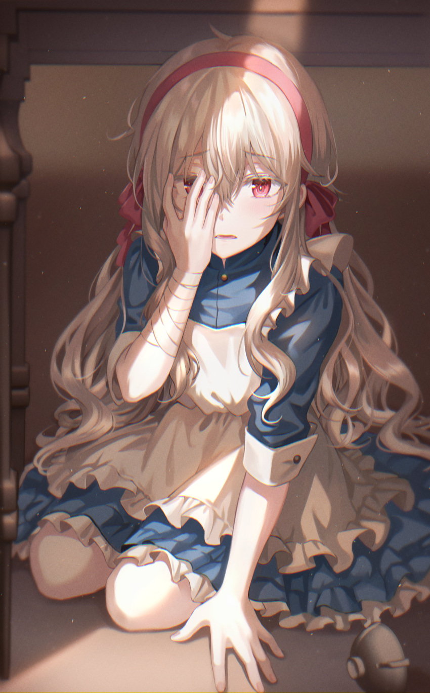 1girl absurdres bandaged_arm bandages blonde_hair blue_dress blush dress frilled_dress frills full_body highres layered_dress long_hair looking_at_viewer original red_eyes seiza shadow short_sleeves sitting sleeves_folded_up solo tokkyu under_table