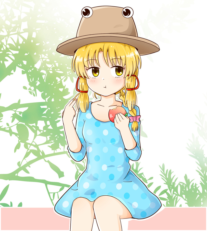 1girl :t alternate_costume alternate_hairstyle apple bangs blonde_hair blue_dress blush bow breasts brown_headwear closed_mouth collarbone commentary_request dress eating eyebrows_visible_through_hair feet_out_of_frame food fruit hair_bow hair_over_shoulder hair_ribbon hair_twirling hands_up hat highres holding holding_food knees_together_feet_apart long_hair looking_to_the_side moriya_suwako outdoors outline polka_dot purple_bow ribbon rozugadena sidelocks sitting sleeves_past_elbows small_breasts solo touhou tress_ribbon white_outline yellow_eyes