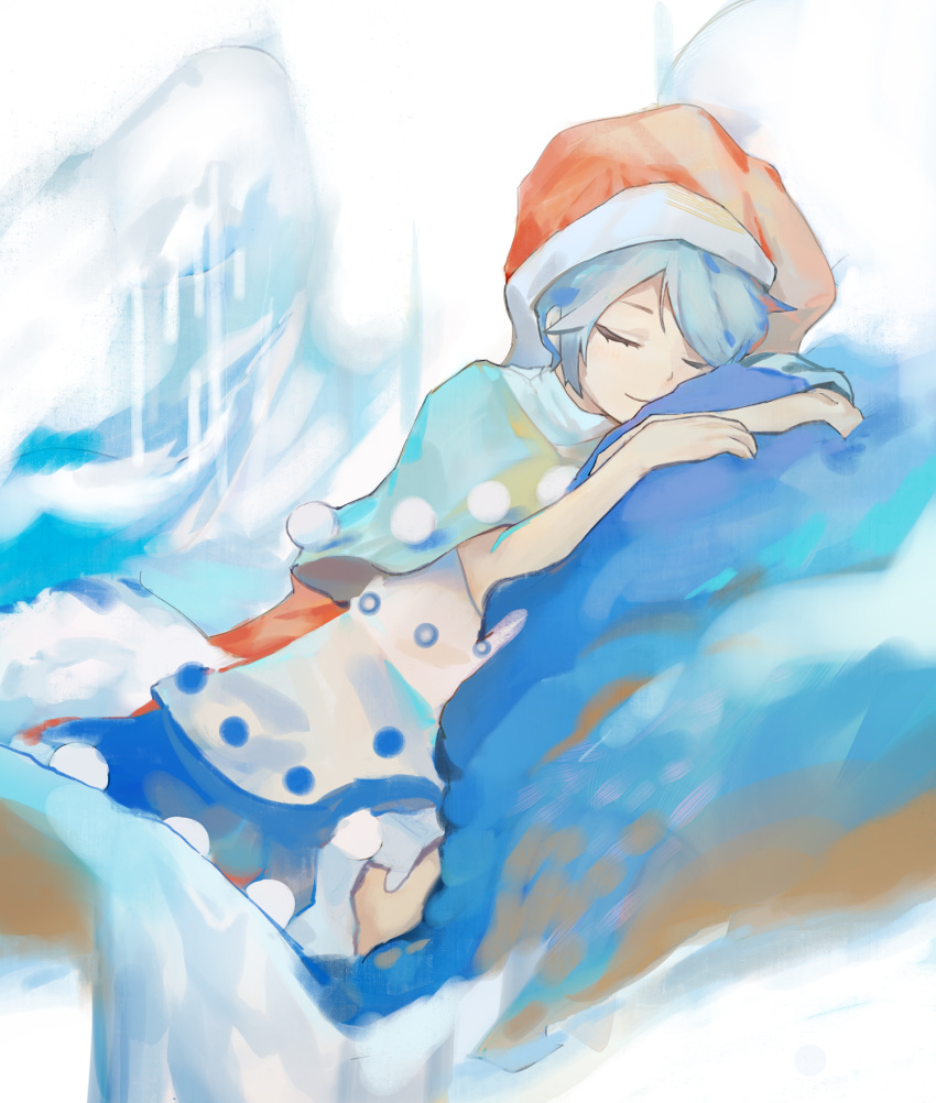 1girl bangs blue_hair closed_eyes closed_mouth commentary_request doremy_sweet dress eyebrows_behind_hair fur_trim grey_background grey_capelet hands_up hat highres light_smile lying nightcap on_side parted_bangs pom_pom_(clothes) red_headwear short_hair simple_background siyumu sleeping solo swept_bangs touhou white_dress