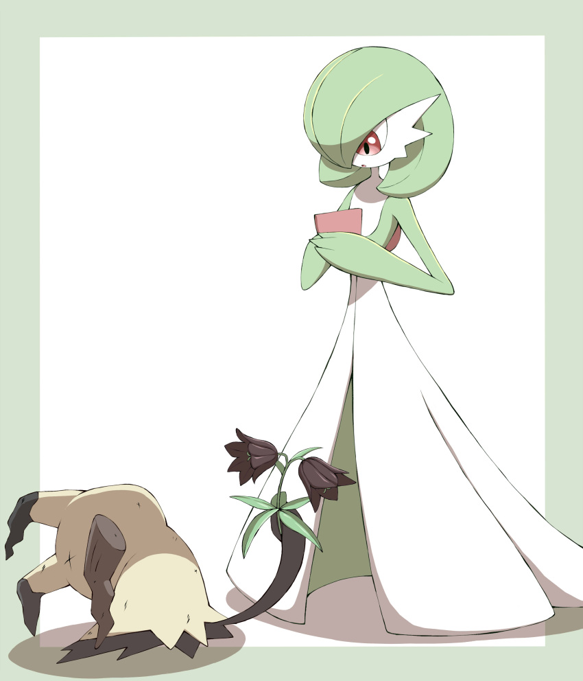 :o absurdres brown_flower commentary_request flower gardevoir gen_3_pokemon gen_7_pokemon highres holding holding_flower looking_down mimikyu open_mouth pokemon pokemon_(creature) red_eyes shabana_may standing tongue