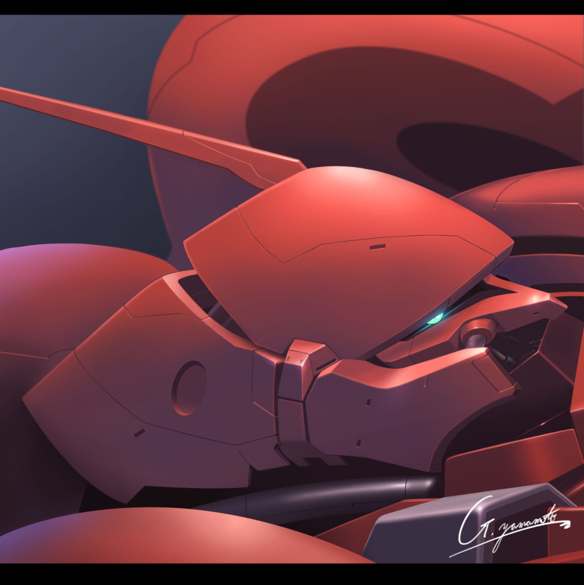 from_side g.yamamoto gerbera_tetra glowing glowing_eye gundam gundam_0083 highres looking_at_viewer mecha mobile_suit no_humans one-eyed science_fiction signature solo upper_body zeon