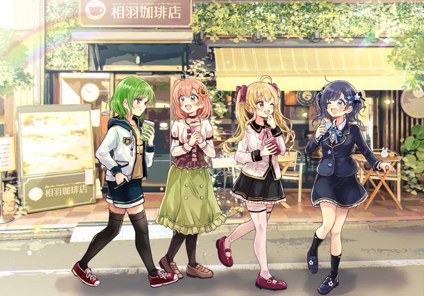 4girls ;d ahoge aiba_uiha bangs black_jacket black_legwear black_shorts black_skirt blazer blonde_hair blue_eyes blue_flower blue_footwear blue_hair blue_ribbon blush braid braided_bangs brown_footwear brown_hair closed_mouth collared_shirt commentary_request crepe cup day disposable_cup drawstring dress_shirt eye_contact eyebrows_visible_through_hair flower food food_on_face frilled_skirt frills green_eyes green_hair green_skirt hair_flower hair_ornament hand_in_pocket highres holding holding_cup holding_food honma_himawari hood hood_down hooded_jacket jacket juliet_sleeves kitakouji_hisui loafers long_hair long_sleeves looking_at_another multiple_girls neck_ribbon nijisanji official_art one_eye_closed open_clothes open_jacket open_mouth outdoors pantyhose pleated_skirt puffy_sleeves red_footwear ribbon sakura_oriko school_uniform shirt shoes short_shorts shorts skirt smile socks standing standing_on_one_leg sunflower sunflower_hair_ornament sweater_vest takamiya_rion thigh-highs translation_request twintails very_long_hair violet_eyes virtual_youtuber white_jacket white_legwear white_shirt yellow_flower yellow_shirt