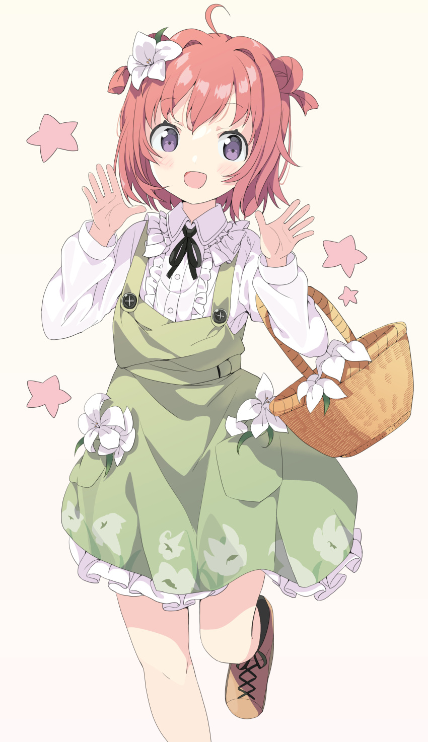 1girl :d absurdres ahoge akaza_akari bangs basket black_legwear blush brown_background brown_footwear brown_hair center_frills collared_shirt commentary_request double_bun dress eyebrows_visible_through_hair flower frilled_dress frilled_shirt frills green_dress hair_flower hair_intakes hair_ornament hands_up highres long_sleeves looking_at_viewer open_mouth revision shirt shoes sleeveless sleeveless_dress smile socks solo standing standing_on_one_leg star_(symbol) tantan_men_(dragon) two_side_up violet_eyes white_flower white_shirt yuru_yuri