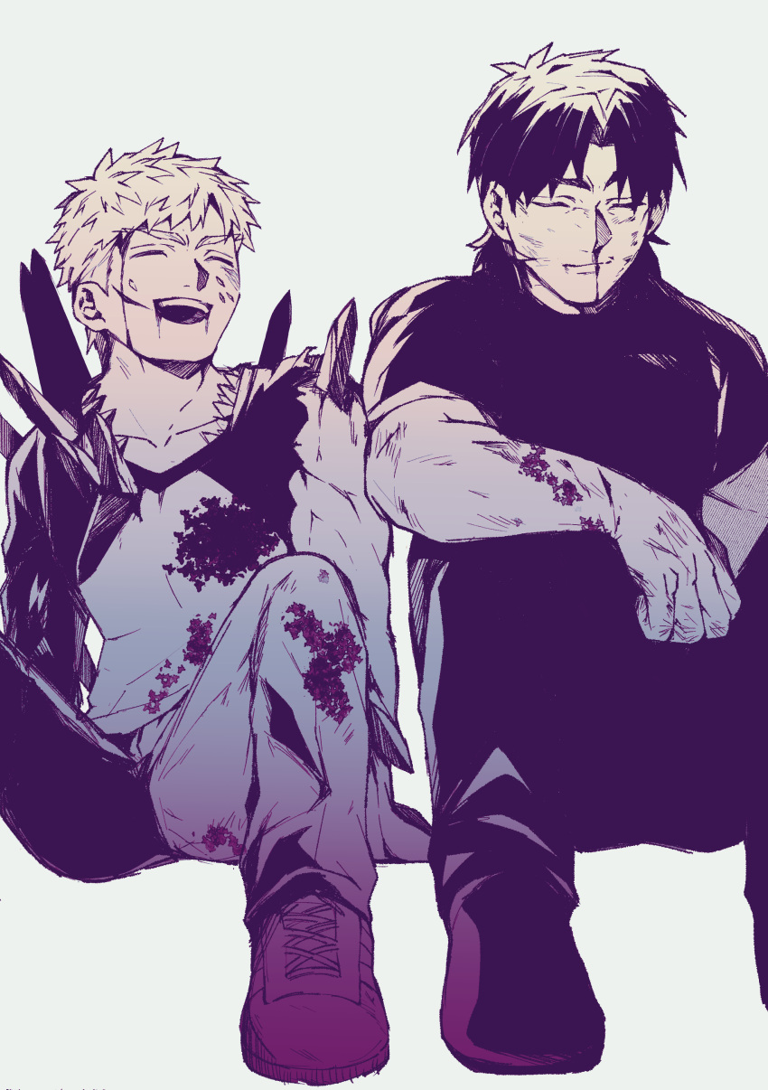 2boys absurdres blood blood_on_face closed_eyes creat emiya_shirou fate/stay_night fate_(series) heaven's_feel highres injury kotomine_kirei multiple_boys raglan_sleeves short_hair sitting smile torn_clothes