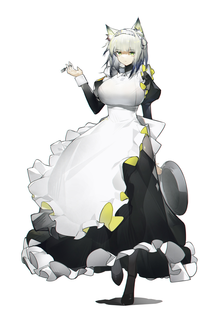 1girl absurdres animal_ear_fluff apron arknights breasts dress fork frilled_apron frills green_eyes highres holding holding_fork kal'tsit_(arknights) large_breasts looking_at_viewer lynx_ears lynx_girl maid maid_apron maid_headdress plate puffy_sleeves short_hair silver_hair white_apron yushi_quetzalli
