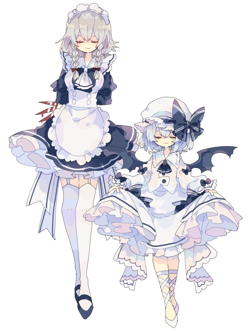 2girls apron arms_behind_back ascot bangs bat_wings black_bow black_neckwear blood bloody_weapon bow braid closed_eyes closed_mouth dress eyebrows_visible_through_hair full_body grey_hair hair_bow hat hat_bow highres izayoi_sakuya juliet_sleeves knife light_blue_hair long_sleeves maid maid_apron maid_headdress mob_cap multiple_bows multiple_girls nikorashi-ka puffy_sleeves remilia_scarlet shirt short_hair side_braids simple_background skirt skirt_lift smile standing thigh-highs touhou twin_braids weapon white_apron white_background white_dress white_footwear white_headwear white_legwear white_neckwear white_shirt white_skirt wings
