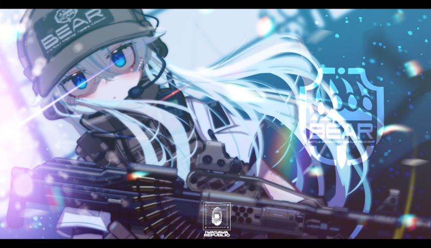 1girl abstract_background absurdres ammunition_belt bangs blue_eyes brown_gloves brown_headwear brown_vest bullet closed_mouth commentary_request eotech escape_from_tarkov field_radio floating_hair freckles gloves gun hair_between_eyes hat headphones headset highres holding holding_gun holding_weapon iwasawayuki light light_machine_gun long_hair looking_at_viewer machine_gun military original pale_skin pkp_pecheneg plate_carrier scope shaded_face short_sleeves sidelocks silver_hair solo tactical_clothes trigger_discipline vest visor_cap weapon