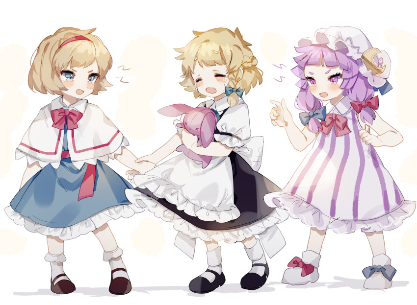 3girls ahoge alice_margatroid apron arguing bangs black_dress black_footwear blue_bow blue_dress blue_eyes bobby_socks bow braid brown_footwear capelet closed_eyes crescent crescent_hat_ornament crying dress footwear_bow french_braid full_body hair_bow hair_ribbon hairband hand_up hat hat_ornament highres holding holding_hands holding_stuffed_toy index_finger_raised kirisame_marisa long_hair looking_at_another mary_janes messy_hair mob_cap multiple_girls no_hat no_headwear open_mouth patchouli_knowledge petticoat pink_bow pink_neckwear puffy_short_sleeves puffy_sleeves purple_hair red_bow red_hairband red_neckwear ribbon shoes short_hair short_sleeves side_braid simple_background single_braid socks sorani_(kaeru0768) striped stuffed_toy touhou tress_ribbon tsurime v-shaped_eyebrows vertical_stripes violet_eyes white_apron white_background white_capelet white_dress white_footwear white_headwear white_legwear younger