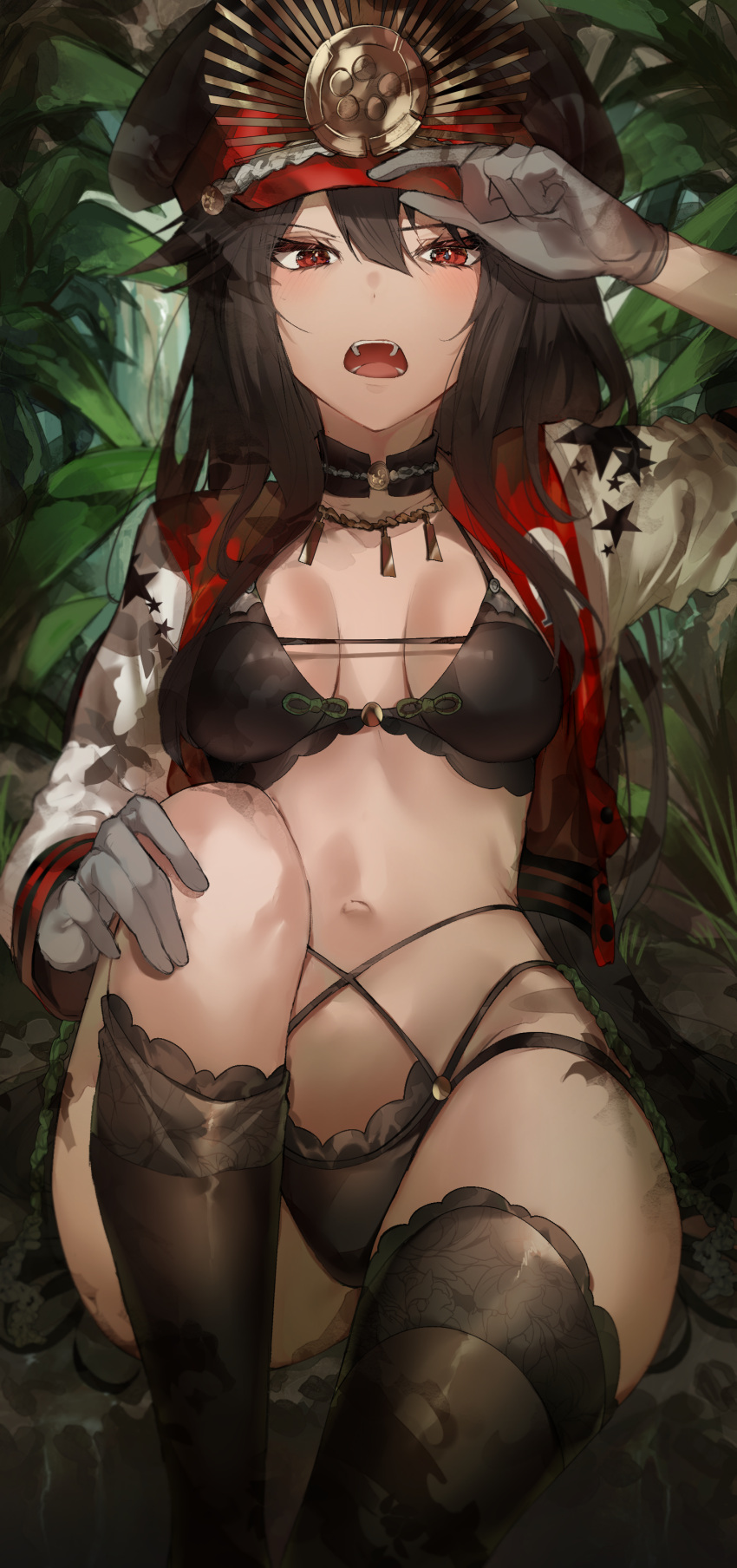 1girl absurdres arm_up bangs bikini black_bikini black_choker black_hair black_headwear black_legwear breasts breasts_apart choker cropped_jacket family_crest fangs fate/grand_order fate_(series) gloves grey_gloves hand_on_headwear hat highres jacket kanniiepan knee_up koha-ace long_hair long_sleeves looking_at_viewer medium_breasts multi-strapped_bikini navel oda_nobunaga_(fate) oda_nobunaga_(fate)_(all) oda_uri open_clothes open_jacket open_mouth peaked_cap raglan_sleeves red_eyes red_jacket revision sitting small_breasts solo stomach swimsuit thigh-highs thighs