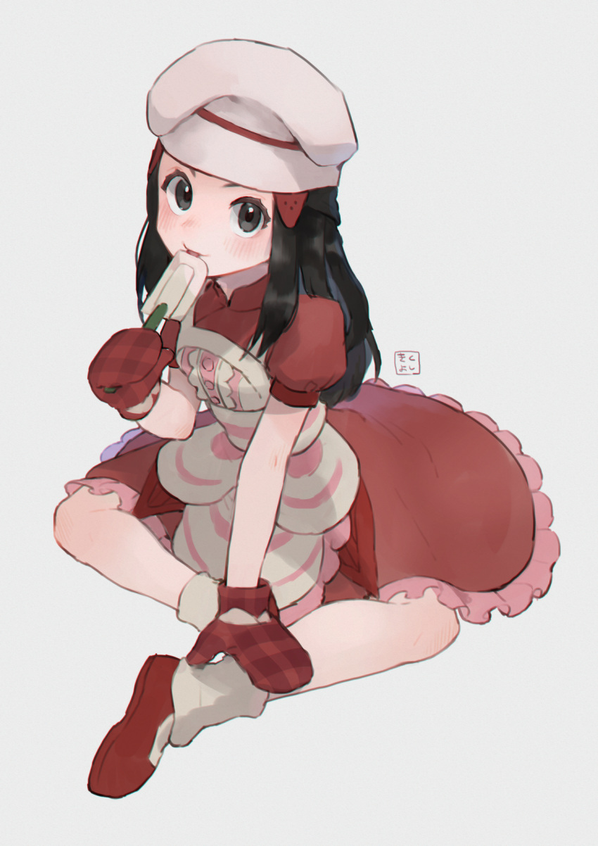 1girl apron artist_name black_eyes black_hair blush breasts chef_hat closed_mouth commentary dawn_(pokemon) dress frilled_apron frilled_dress frills from_above full_body grey_background hair_ornament hairclip hand_up happy hat highres kikuyoshi_(tracco) licking long_hair looking_at_viewer looking_up mittens nose_blush pink_apron plaid_mittens pokemon pokemon_(game) pokemon_masters_ex puffy_short_sleeves puffy_sleeves red_dress red_footwear red_mittens shiny shiny_hair shoes short_sleeves sidelocks signature simple_background sitting small_breasts smile socks solo spatula tied_hair tongue tongue_out white_headwear white_legwear