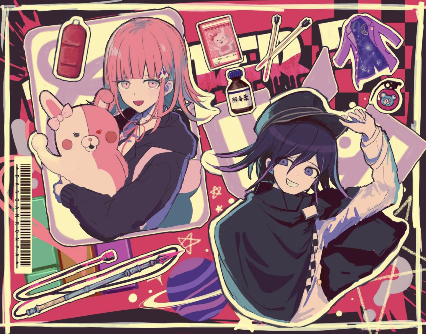 1boy 1girl :d animal_bag arm_up arrow_(projectile) bangs black_background black_cape black_hair black_headwear black_jacket border bottle cape card cat_bag checkered checkered_scarf copyright_name danganronpa_(series) danganronpa_2:_goodbye_despair danganronpa_v3:_killing_harmony doll_hug dot_nose english_commentary explosive grenade grin hair_between_eyes hair_ornament hat highres holding hood hug iumi_urura jacket jacket_removed long_sleeves looking_at_viewer medium_hair monomi_(danganronpa) mouse_print multicolored multicolored_background nanami_chiaki open_mouth ouma_kokichi pink_background pink_bag pink_eyes pink_hair pink_jacket playing_card polearm scarf short_hair smile spaceship_hair_ornament spear upper_body usami_(danganronpa) weapon white_border white_jacket