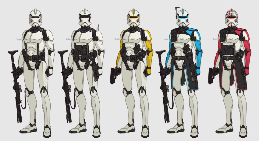 5boys armor clenched_hand clone_trooper energy_gun english_commentary grey_background gun handgun highres holding holding_gun holding_weapon looking_at_viewer multiple_boys pistol radio_antenna redesign rifle ruben_menzel science_fiction star_wars variations visor weapon