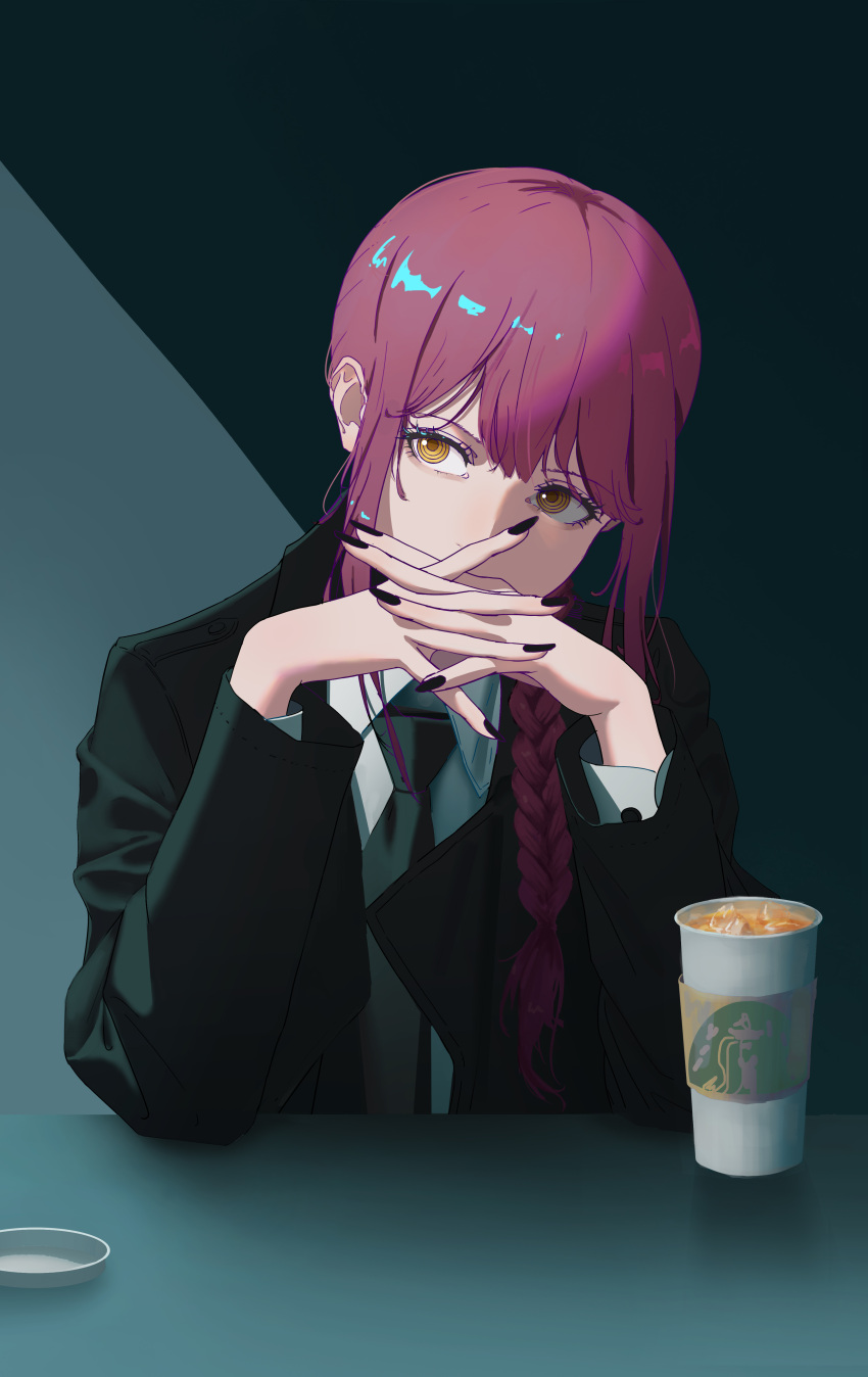 1girl absurdres black_coat black_nails black_neckwear braid braided_ponytail chainsaw_man chinese_commentary coat coffee_cup collared_shirt covered_mouth cup disposable_cup dress_shirt drink eyelashes formal guo_wu hair_between_eyes hands_clasped head_tilt highres long_hair long_sleeves looking_to_the_side makima_(chainsaw_man) nail_polish necktie orange_eyes own_hands_together redhead ringed_eyes shirt sidelocks sitting solo trench_coat upper_body white_shirt wing_collar