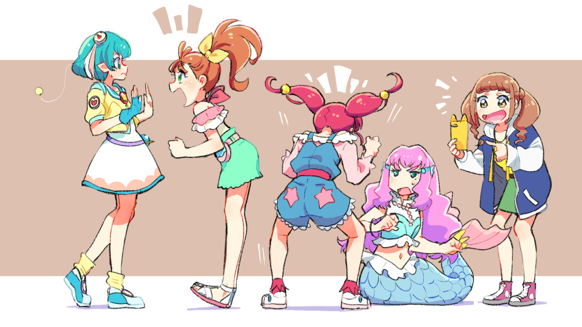 5girls :d antennae aqua_blouse aqua_eyes aqua_footwear aqua_hair aqua_sailor_collar aqua_shorts azuma_yukihiko belt blouse blue_jacket blue_overalls blush border bow brown_background brown_belt brown_eyes brown_hair cellphone closed_mouth commentary_request crop_top dress excited eyebrows_visible_through_hair fist_pump floating_hair frilled_blouse from_behind from_side frown green_eyes green_skirt hagoromo_lala hair_bobbles hair_bow hair_ornament hair_strand halterneck hands_up head_fins healin'_good_precure heart heart_hair_ornament high_ponytail highres hiramitsu_hinata holding holding_phone hood hooded_jacket hoshina_hikaru jacket laura_(precure) leaning_forward leg_warmers letterboxed long_hair long_sleeves looking_at_another mermaid midriff monster_girl motion_lines multicolored multicolored_blouse multicolored_clothes multicolored_hair multicolored_jacket multiple_girls natsuumi_manatsu navel off_shoulder open_clothes open_jacket open_mouth orange_hair outside_border pearl_hair_ornament phone pink_belt pink_blouse pink_footwear pink_hair pink_legwear pointing pointy_ears pouch precure sandals scales shadow shirt shoes short_hair shorts shouting side_ponytail simple_background skirt sleeveless_blouse smartphone smile sneakers socks split_tail square_mouth squatting star_(symbol) star_print star_twinkle_precure stomach streaked_hair sweatdrop thick_eyebrows tropical-rouge!_precure twintails wavy_hair white_blouse white_border white_dress white_footwear white_hair white_jacket white_sleeves yellow_bow yellow_jacket yellow_shirt