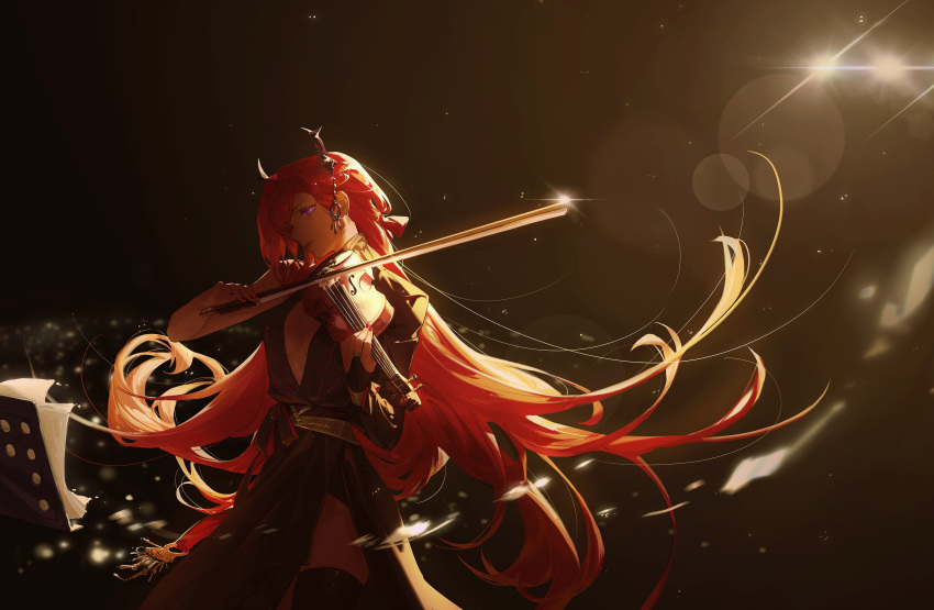 1girl absurdres arknights black_dress cowboy_shot dress head_tilt highres holding holding_instrument horns instrument long_hair music playing_instrument redhead single_sleeve solo standing surtr_(arknights) very_long_hair violet_eyes violin wushier