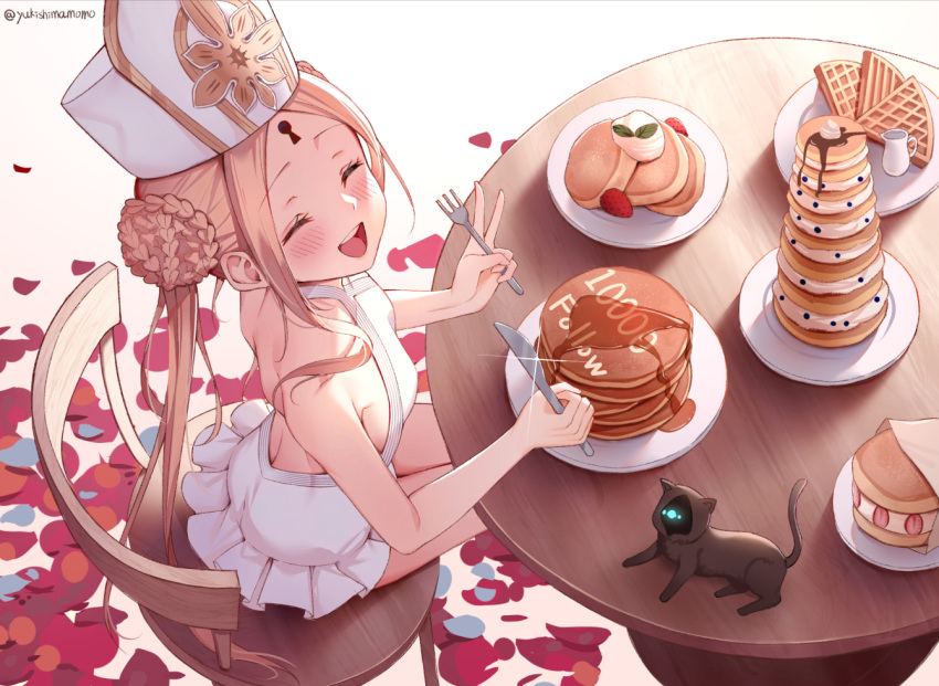 1girl abigail_williams_(fate) abigail_williams_(swimsuit_foreigner)_(fate) bangs bare_shoulders black_cat blonde_hair braid braided_bun breasts cat chair closed_eyes double_bun dress_swimsuit fate/grand_order fate_(series) food forehead fork keyhole knife long_hair mitre open_mouth pancake parted_bangs petals plate sidelocks sitting small_breasts swimsuit table twintails very_long_hair white_headwear white_swimsuit yukiyama_momo