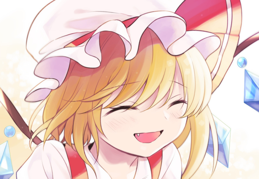 1girl bangs blonde_hair blush closed_eyes commentary_request crystal fang flandre_scarlet hat mob_cap nakukoroni open_mouth portrait red_ribbon ribbon shirt smile solo touhou white_background white_headwear white_shirt wings yellow_background