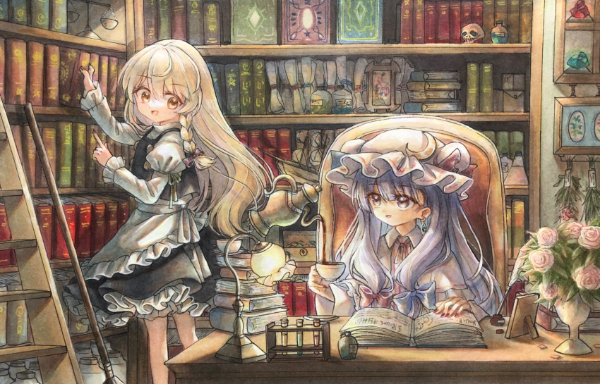 2girls :d apron balance_scale bangs black_skirt black_vest blonde_hair bloomers blue_bow book book_stack bookshelf bow braid buttons capelet coffee commentary_request crescent crescent_hat_ornament cup dress earrings eyebrows_visible_through_hair flower frills hair_bow hair_ribbon hat hat_ornament highres hisako_(6anmbblfnjueeff) holding holding_book holding_cup index_finger_raised indoors jewelry juliet_sleeves kirisame_marisa ladder lamp library light long_hair long_sleeves looking_at_another mob_cap multiple_girls nail_polish no_hat no_headwear open_book open_mouth patchouli_knowledge petticoat pink_dress pink_flower pink_headwear pink_rose potion pouring puffy_sleeves purple_bow purple_hair red_bow red_nails red_neckwear ribbon rose side_braid sidelocks single_braid skirt skull smile table teacup teapot telekinesis touhou tress_ribbon underwear vase very_long_hair vest vial violet_eyes waist_apron weighing_scale yellow_eyes yellow_ribbon