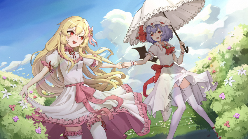 2girls aoaoaoao_(baiyanheibing) blonde_hair blue_sky bush clouds commentary_request day dress dress_lift flower frilled_umbrella hair_between_eyes hat hat_ribbon highres long_hair looking_at_another mob_cap multiple_girls original purple_hair red_eyes red_footwear red_neckwear remilia_scarlet ribbon short_hair short_sleeves sky smile thigh-highs touhou umbrella vampire white_dress
