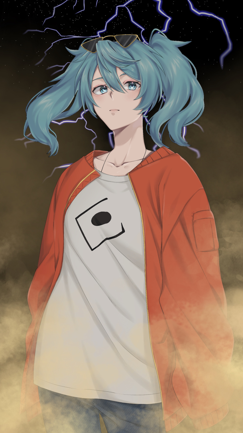 1girl absurdres aqua_eyes aqua_hair commentary cowboy_shot denim expressionless eyewear_on_head hatsune_miku highres ikura_(user_uuyj7743) jacket jeans lightning looking_at_viewer medium_hair night night_sky pants red_jacket sand sandstorm shirt sky solo spaghetti_strap standing star_(sky) starry_sky suna_no_wakusei_(vocaloid) sunglasses twintails vocaloid white_shirt