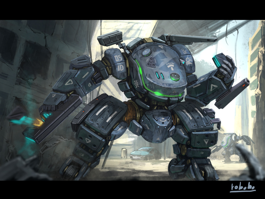 arm_cannon bottoms1237 car clenched_hand ground_vehicle gun handgun highres holding holding_gun holding_weapon mecha motor_vehicle no_humans original pistol science_fiction shoulder_cannon solo visor weapon