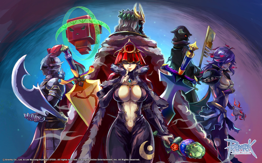 2boys 2girls 2others :p angry_student_pyuriel arm_under_breasts armor aura bangs black_bodysuit black_cloak blue_eyes bodysuit breastplate breasts cape cloak closed_mouth commentary_request copyright cowboy_shot crescent_print crown dark_guardian_kades finger_to_mouth fur-trimmed_cape fur-trimmed_cloak fur_trim general_daehyun genetic_(ragnarok_online) gioia greatsword hair_over_one_eye head_wreath helmet highres holding holding_key holding_staff hood hood_up horns key keyblade large_breasts living_clothes long_hair long_sleeves looking_at_viewer looking_back medium_breasts medium_hair monster multiple_boys multiple_girls multiple_others navel official_art old_king_groza open_bodysuit orange_eyes pantyhose pauldrons plume purple_hair purple_legwear ragnarok_online red_cape red_cloak red_eyes reload9_yohji short_hair shoulder_armor signature smile snake staff sword teeth tongue tongue_out torn_clothes torn_legwear undead wallpaper watermark weapon white_hair witch_zilant