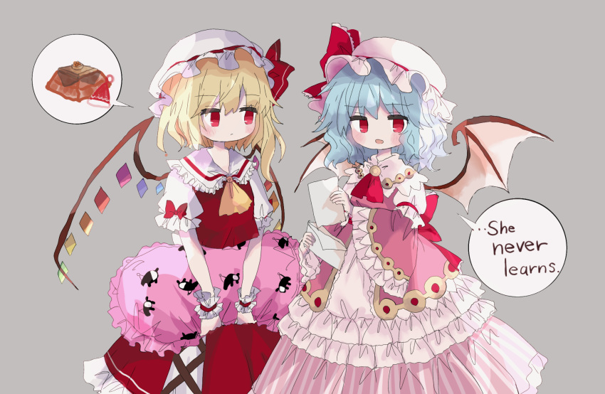 2girls :/ alternate_costume animal_print ascot bangs bat_wings blonde_hair blue_hair blush bow brooch closed_mouth commentary_request cowboy_shot crystal doremy_sweet doremy_sweet_(baku) dress english_text eyebrows_visible_through_hair flandre_scarlet flat_chest frills grey_background hat hat_bow highres holding holding_paper holding_pillow jewelry looking_at_another looking_at_viewer medium_hair mob_cap multiple_girls one_side_up open_mouth paper petticoat pillow pink_dress red_bow red_eyes red_neckwear remilia_scarlet short_hair siblings sisters speech_bubble spoken_food standing touhou wavy_hair white_headwear wings wrist_cuffs yellow_neckwear zabuton_(mgdw5574)