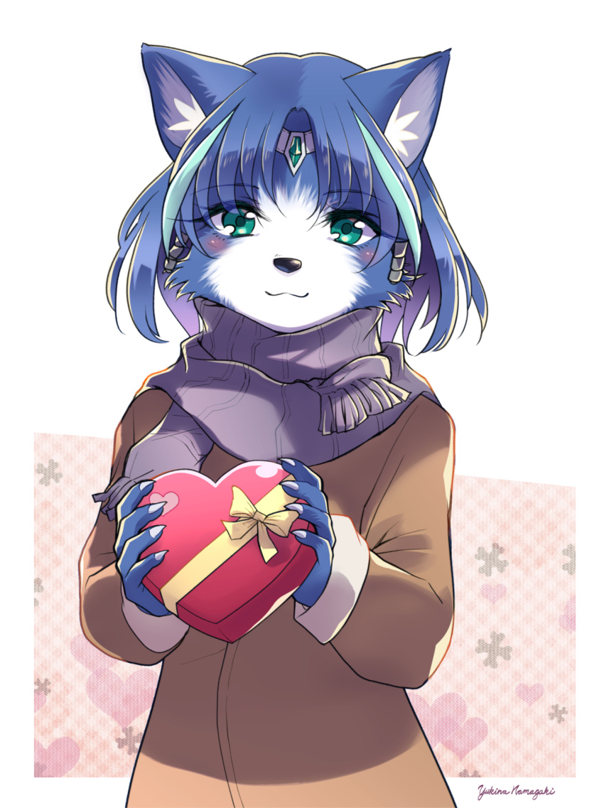 1girl animal_ear_fluff animal_ears animal_nose aqua_eyes aqua_hair artist_name bangs blue_fur blue_hair blush body_fur border bow box brown_coat casual claws closed_mouth coat commentary english_commentary eyebrows_visible_through_hair flat_chest fox_ears fox_girl furry gift grey_scarf hair_intakes hair_tubes hands_up happy heart heart-shaped_box highres holding krystal light_blush long_sleeves looking_at_viewer multicolored_hair namagaki_yukina outside_border ribbon scarf short_hair signature simple_background smile solo standing star_fox star_fox_assault streaked_hair two-tone_fur two-tone_hair upper_body valentine white_background white_border white_fur yellow_bow yellow_ribbon