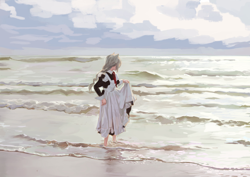 1girl animal_ears apron barefoot beach black_blouse blouse braid cat_ears cat_girl fkey full_body long_skirt looking_away maid maid_apron ocean original outdoors red_neckwear single_braid skirt skirt_hold solo waves