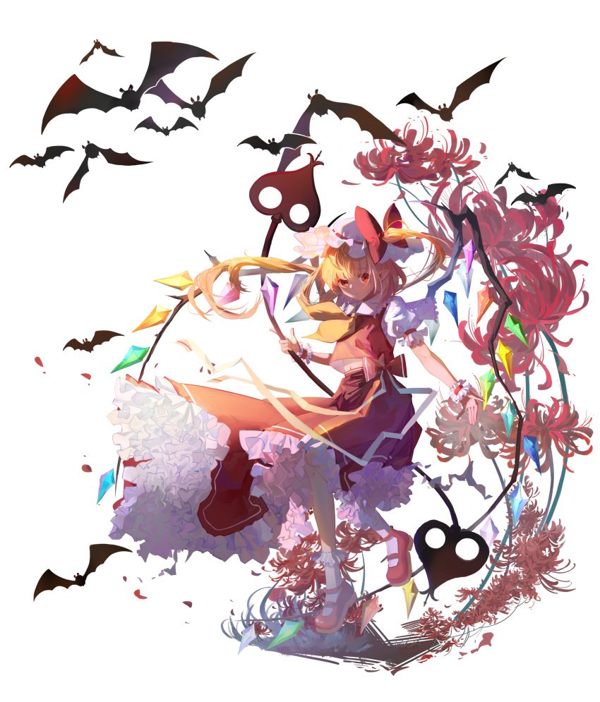 1girl absurdres arm_garter ascot bat blonde_hair bow crystal flandre_scarlet flower frilled_shirt frilled_shirt_collar frilled_skirt frilled_sleeves frills hat hat_bow highres laevatein magic_tofu mob_cap navel pointy_ears puffy_short_sleeves puffy_sleeves red_bow red_eyes red_skirt red_vest shirt short_sleeves side_ponytail skirt solo spider_lily touhou vest white_shirt wings yellow_neckwear