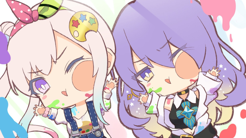 2girls against_fourth_wall airani_iofifteen belt belt_buckle black_shirt blue_overalls blue_ribbon bright_pupils buckle cheek_press chibi eyebrows_visible_through_hair gradient_hair green_ribbon hair_bun hair_ribbon hand_on_glass highres hololive hololive_indonesia jacket moona_hoshinova mugino0515 multicolored_hair multiple_girls navel one_eye_closed overalls paint paint_on_clothes paint_on_face paint_stains palette pink_hair pink_ribbon purple_hair ribbon shirt side_ponytail simple_background star_ornament violet_eyes white_background white_jacket white_pupils white_shirt yellow_eyes