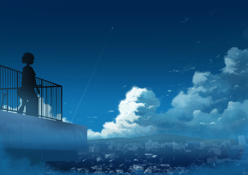 1girl absurdres blue_sky building city cityscape clouds commentary_request condensation_trail cumulonimbus_cloud day hati_98 highres house mixed-language_commentary mountain original outdoors rooftop scenery silhouette sky solo standing tokyo_(city)