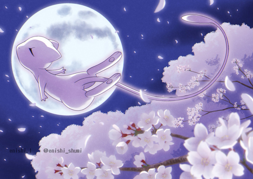 artist_name closed_eyes commentary_request enishi_(menkura-rin10) flower from_side gen_1_pokemon highres mew moon mythical_pokemon night no_humans outdoors pokemon pokemon_(creature) sky solo toes white_flower