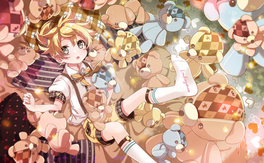 1boy :o blonde_hair bow bowtie character_name checkered clothes_writing commentary crown_print from_above grey_eyes heart hekicha highres holding holding_stuffed_toy kagamine_len leg_garter legs_up looking_at_viewer lying male_focus on_back open_mouth pillow shirt short_sleeves shorts socks solo spiky_hair stitches striped striped_bow striped_neckwear stuffed_animal stuffed_toy suspender_shorts suspenders teddy_bear vocaloid white_legwear white_shirt yellow_shorts
